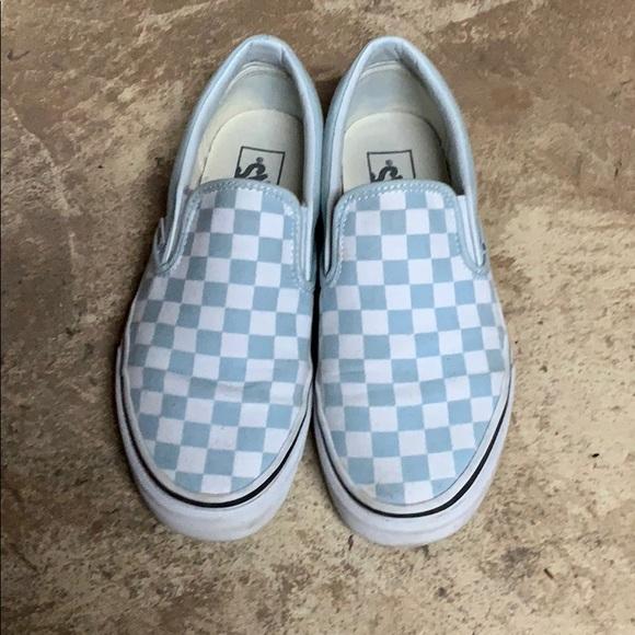 920ac95a88 Vans Baby Blue checkered slip ons. M 5beaf4884ab633767eb64eb6